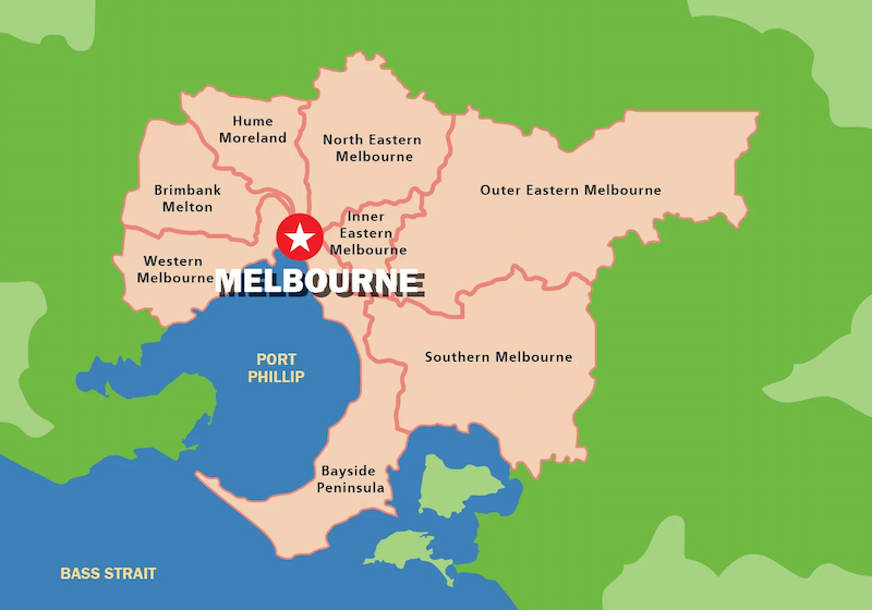 Melbourne   City of Melbourne   Victoria map
