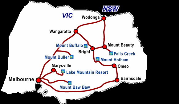 Ski Victoria - Ski Resorts   Holidays   Snow Fields    Skiing packages map
